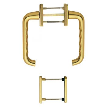 Set of Hoppe French door handles in gold finish