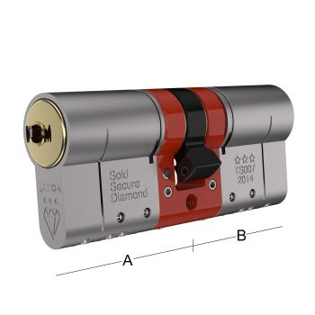 Bristant Ultion Cylinder Lock showing A and B sizes