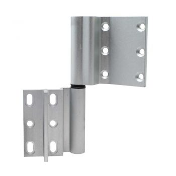 ALK 2-part aluminium door hinge in silver finish showing right side open position